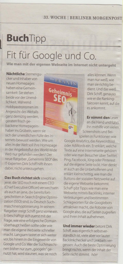SEO Buch Morgenpost Dirk Schiff Berlin